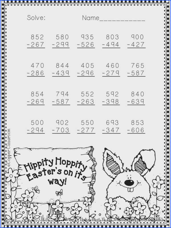 Free Easter subtraction worksheet