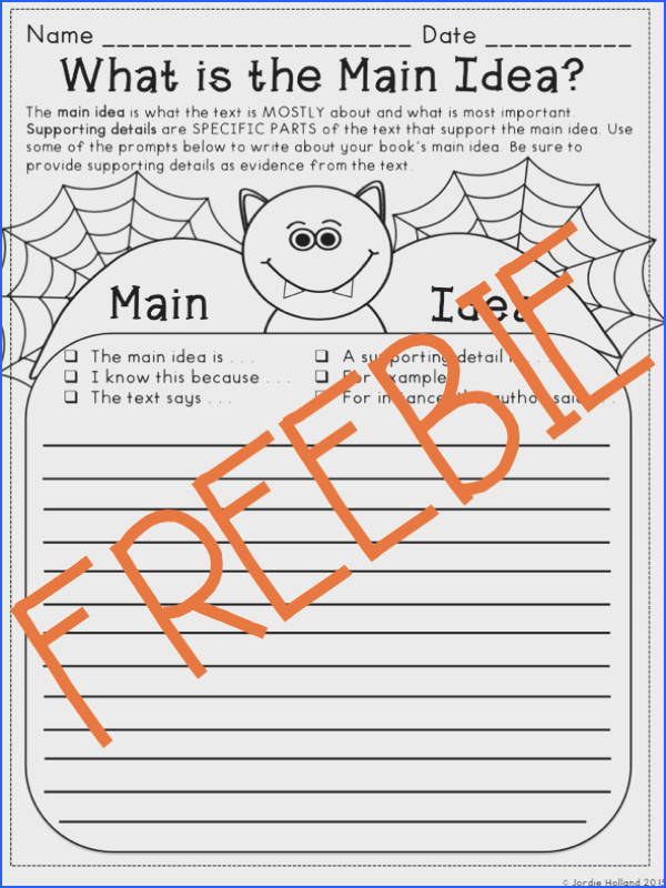 Free Halloween Reading Graphic Organizers for Main Idea Cause and Effect Book Review