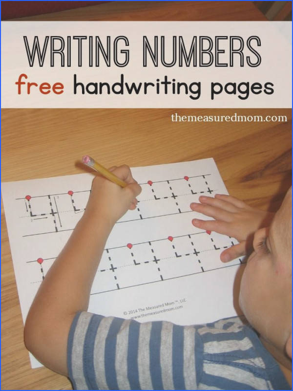 Free handwriting pages for writing numbers 3 levels
