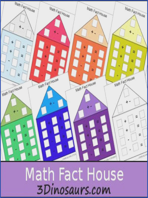 Free Math Fact House 3 Dinosaurs and lots of other math printables