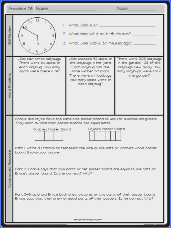 FREE math practice worksheet Reviews a variety of skills and includes a multi part problem