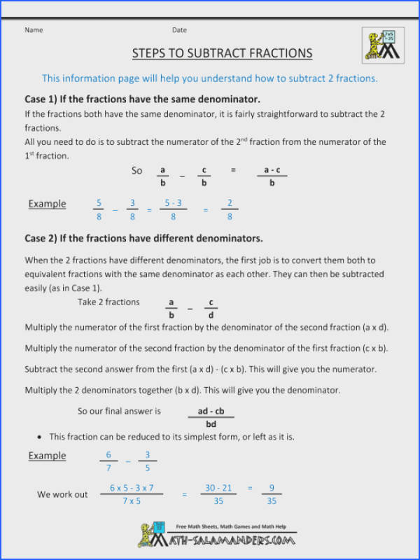 Math Adding And Subtractingactions Worksheets Integer Worksheet Pdf Subtract Year Algebraic Subtracting Fractions With Unlike Denominators