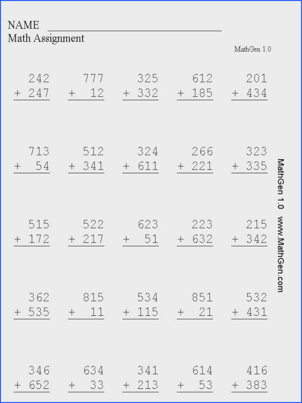 Three Digit Addition Math Worksheet