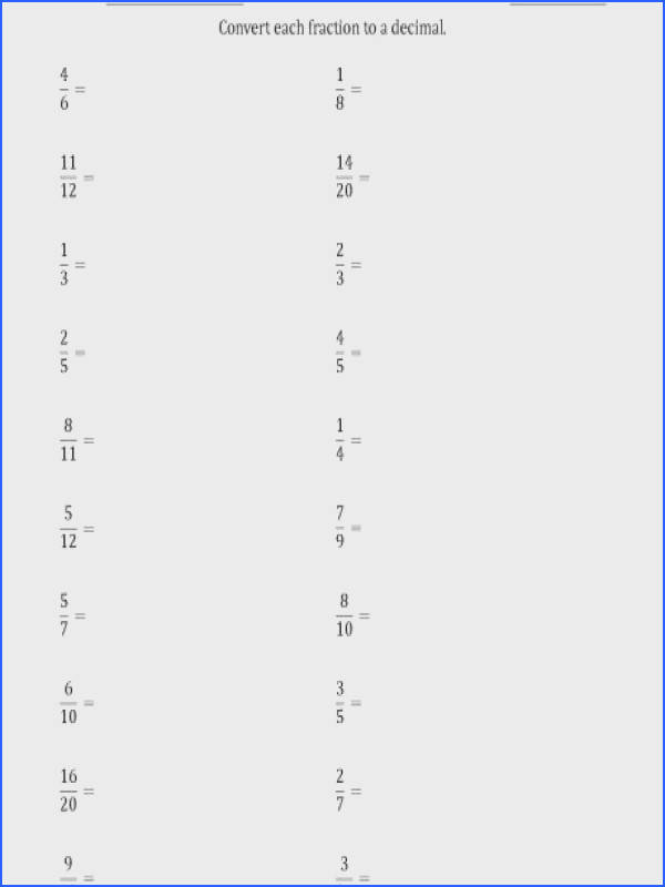 converting fractions to terminating and repeating decimals a math worksheets answers fractions convert to decimal 00 a part of under