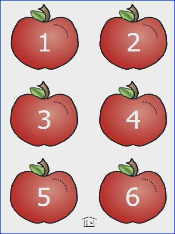 FREE printable Apple Worms counting set 1 to 10 for preschool