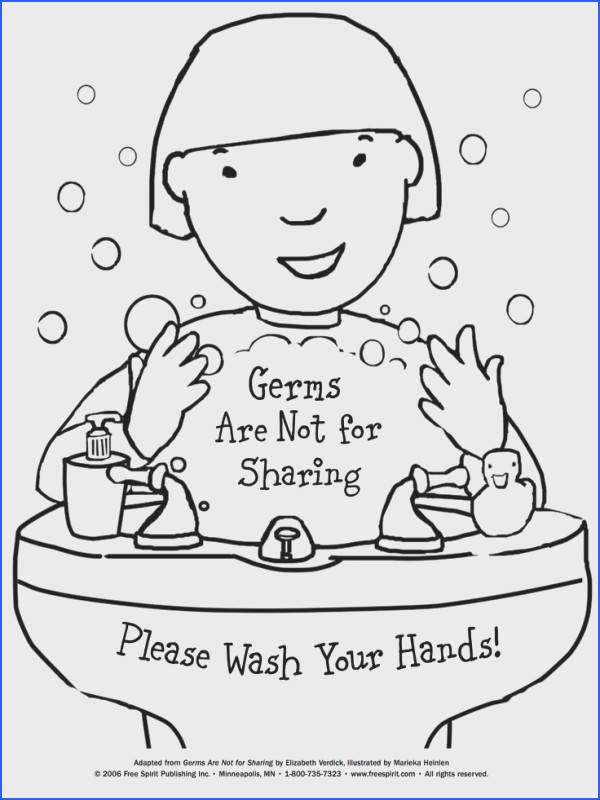 Free printable coloring page to teach kids about hygiene Germs Are Not for Sharing