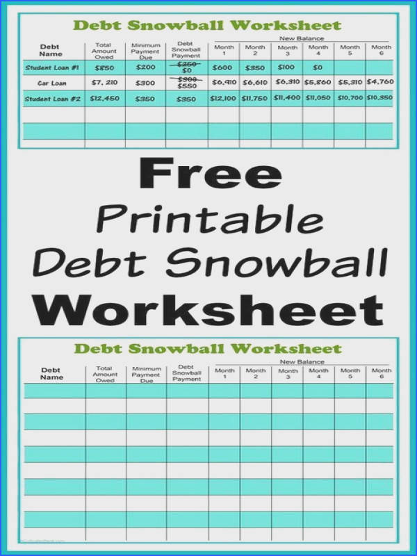 Free Printable Debt Snowball Worksheet Perhaps the best way to pay down your debt is with the debt snowball method Use my free printable debt sno…
