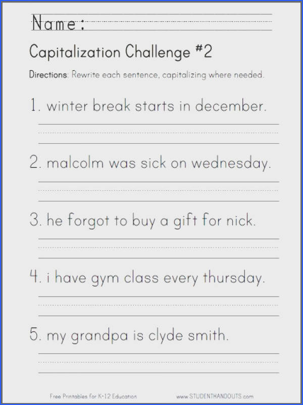 Useful Free Printable English Grammar Worksheets For Grade 1 For Your Best 25 First Grade