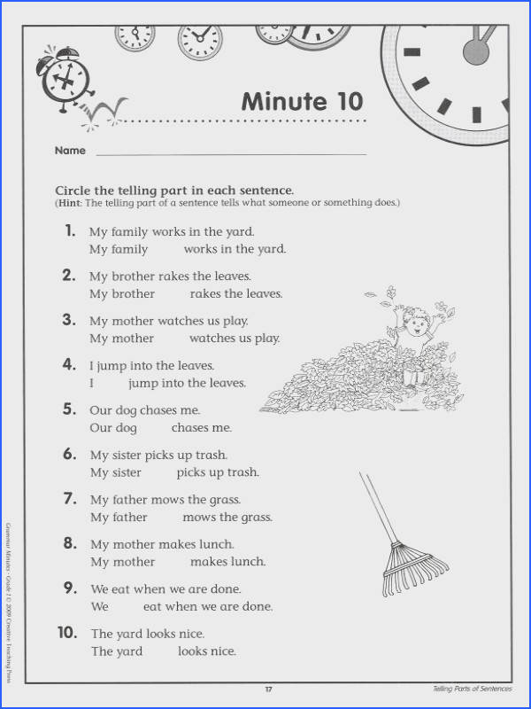 Enchanting Free Printable English Grammar Worksheets For Grade 1 In Grammar Minutes Grade 1 Details
