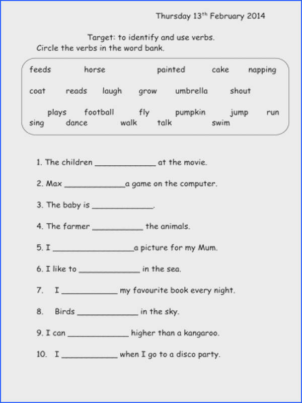 Impressive Free Printable English Grammar Worksheets For Grade 1 About Verbs Worksheet Year 1 By