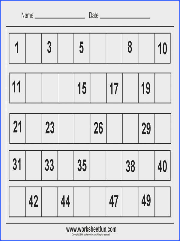 Free Printable Math Worksheets For Kindergarten Toddlers Missing Number About Pinterest Numbers Charts