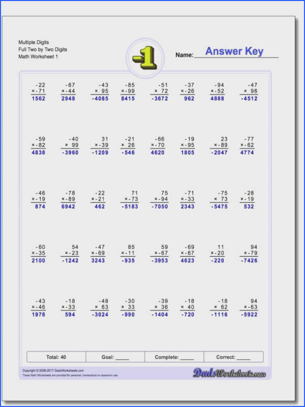 Latticeod Multiplication Worksheets With Negative Numbers Two By Digit V1 Best Paper Contemporary Worksheet Mathematics