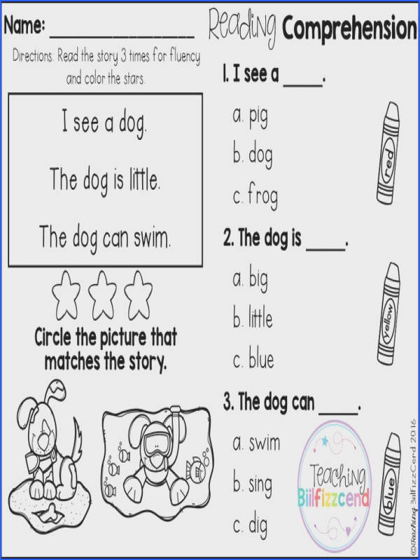 FREE Reading prehension For Beginning Readers Multiple Choice 5 Free Kindergarten Reading prehension and