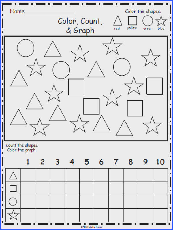 Free Shapes Graphing Color count and graph the following shapes circle
