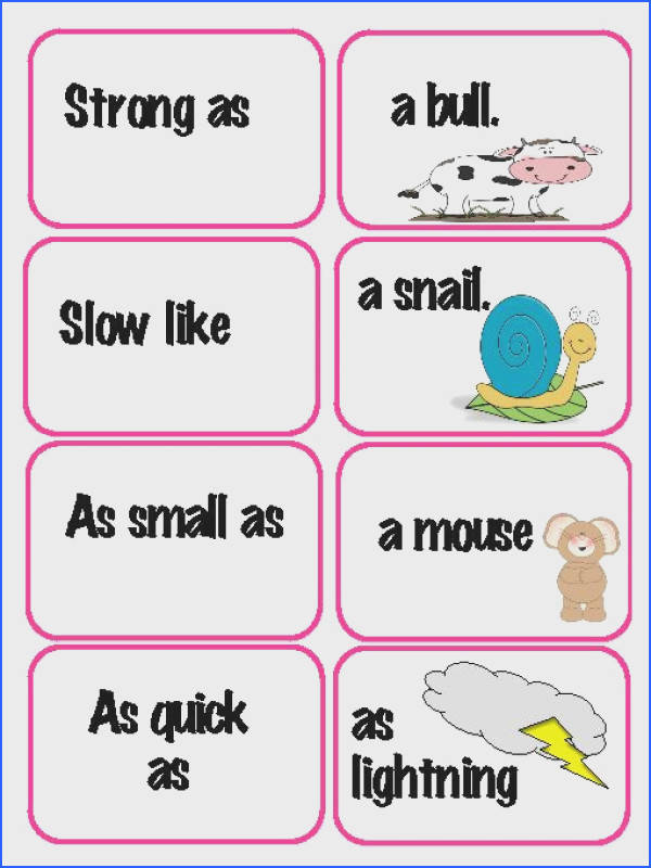 FREE Similes Literacy Centers Matching Activity