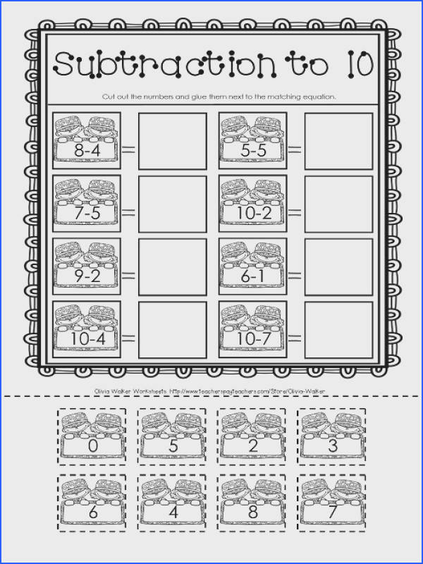 Free Subtraction Worksheet Cut and Paste Subtract to 10