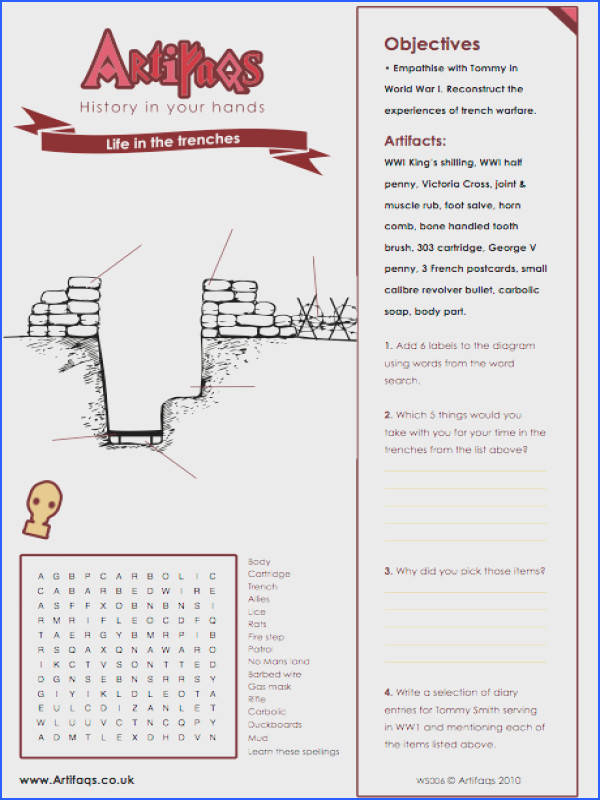 Free Worksheet Life in the trenches Objectives Empathise with Tommy in World War I