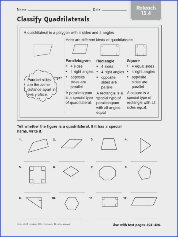 free worksheets for 3rd grade or quadrilaterals worksheet classifying quadrilaterals worksheet free worksheets classify reteach 4