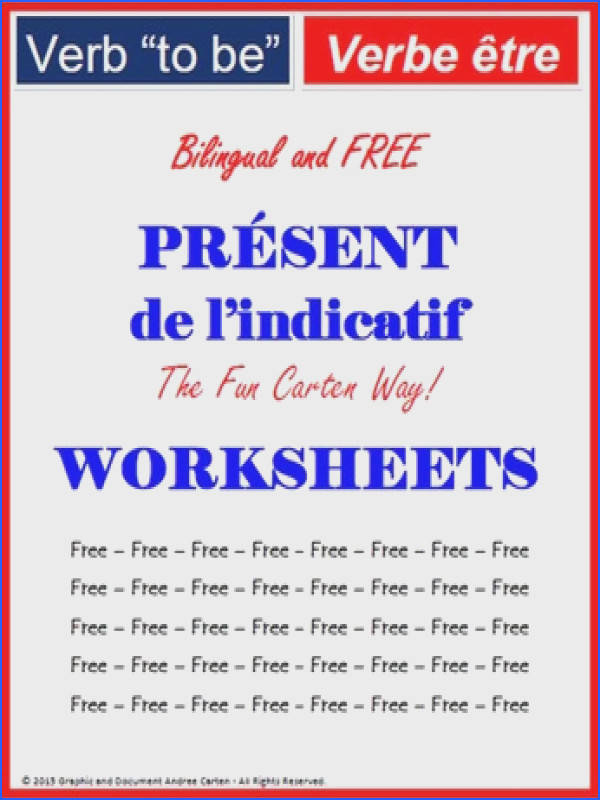 """FREE Worksheets French Verb """"to be"""" Present Simple Tense – verbe """"ªtre"""