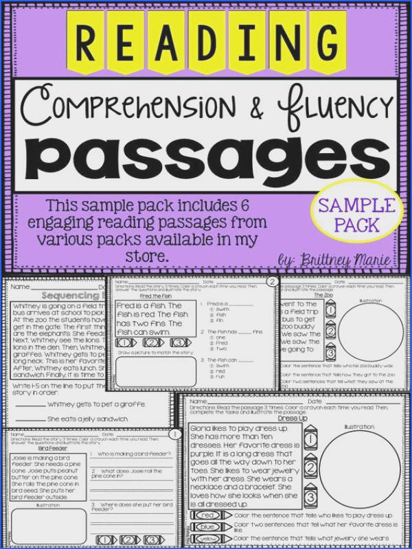 Free reading prehension and fluency passages sample pack 2nd Grade