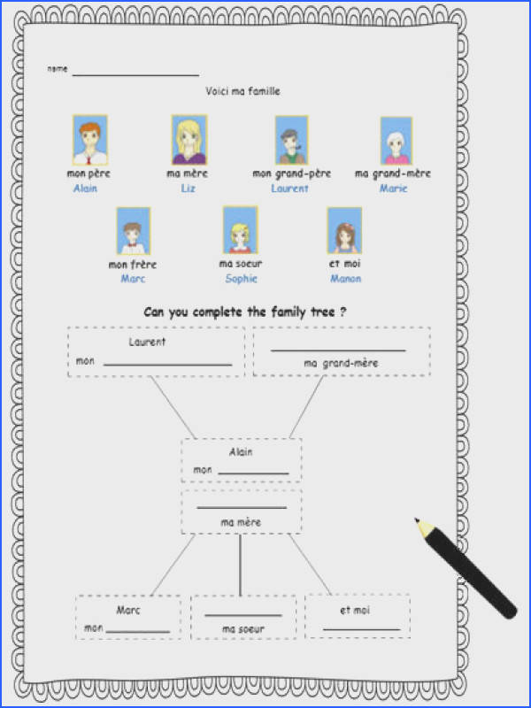 FRENCH FAMILY MEMBERS Activity Worksheet French Family Members Vocabulary French Printable to Learn Names of Family Members Lesson Plans