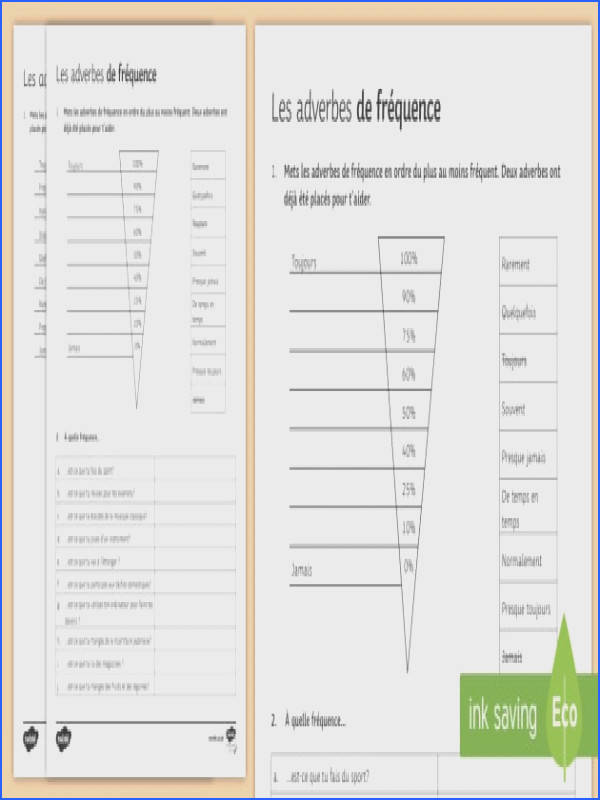 Frequency Adverbs Worksheet Activity Sheet French Grammar frequency adverbs adverbes