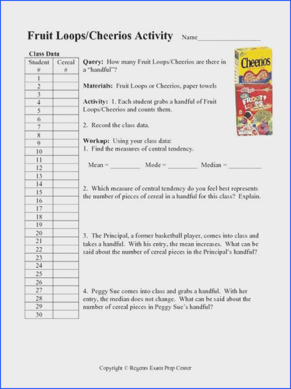 Fruit Loops Cheerios Activity Measures of Central Tendency Worksheet for 7th 10th Grade