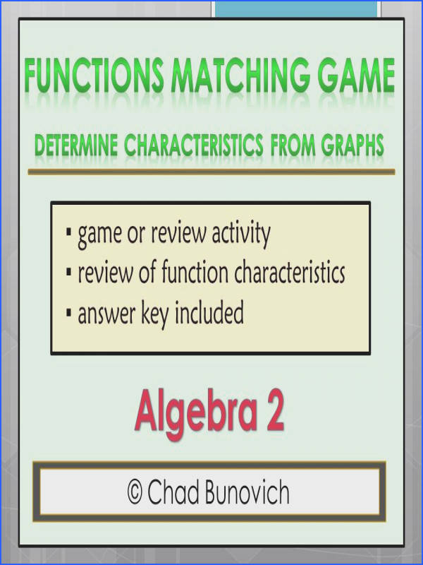 FUNCTIONS MATCHING GAME This item is meant to be a review for a functions unit