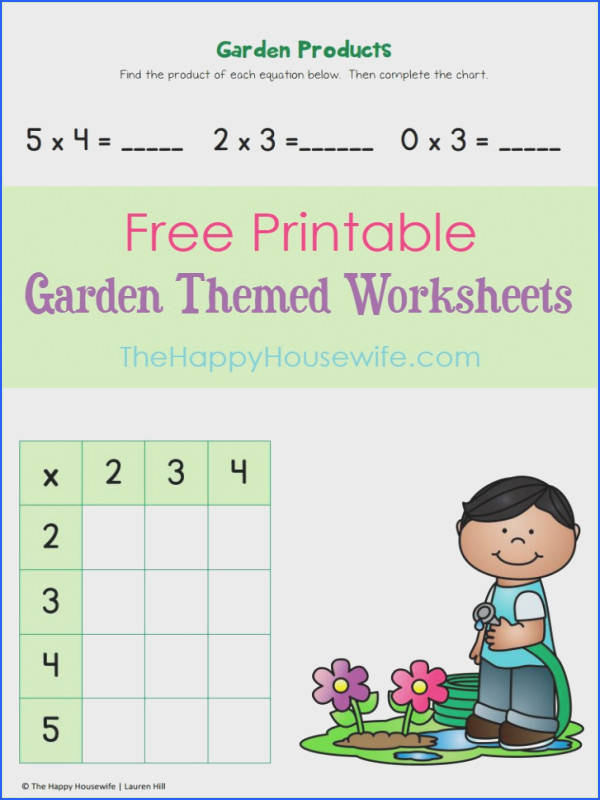 Free printable garden themed worksheets for 2nd graders from