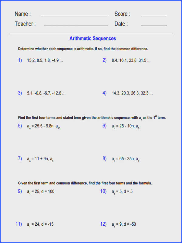 Geometric Equations Worksheets Worksheets for All Image Below Arithmetic and Geometric Sequences Worksheet