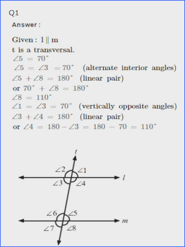 Geometry Parallel Lines and Transversals Worksheet Answers Awesome Rs Aggarwal solutions for Class 7th Maths Properties