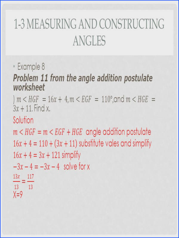 Geometry Segment and Angle Addition Worksheet Answers Best 1 3 Measuring and Constructing Angles Ppt