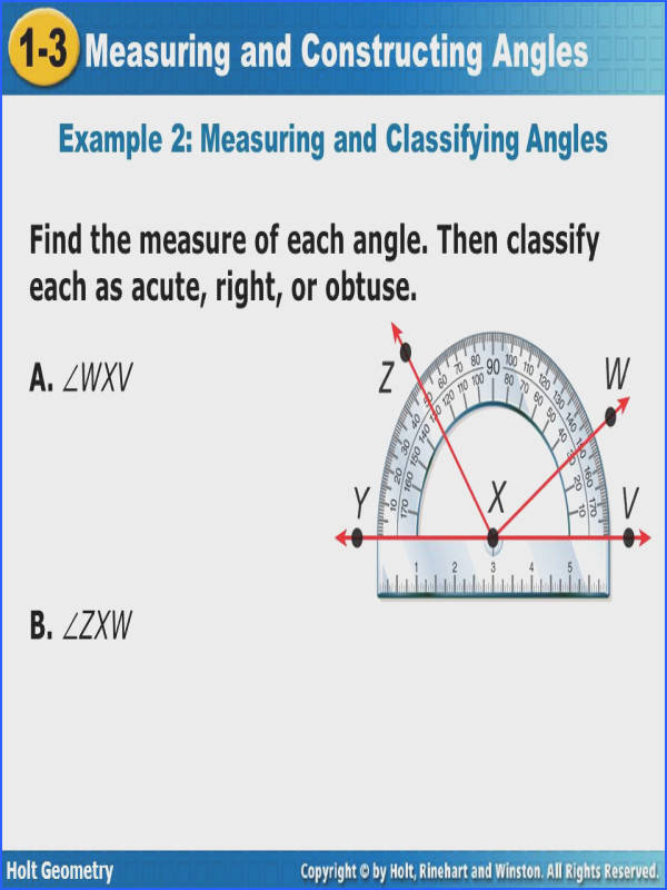 Geometry Segment and Angle Addition Worksheet Answers Best Measuring and Constructing Angles 1 3 Holt