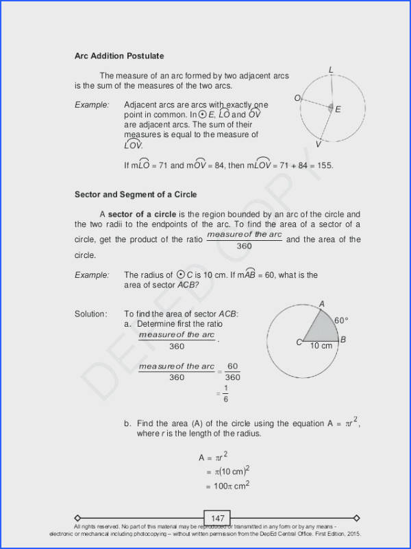 Geometry Segment and Angle Addition Worksheet Answers Fresh area Sector Worksheet Plus Awesome Geometry Arc Length