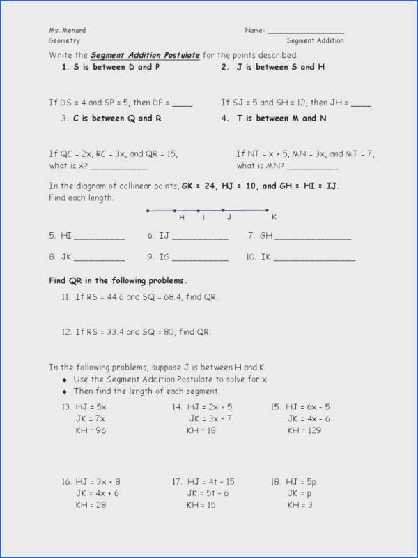 Geometry Segment and Angle Addition Worksheet Answers New Angle Addition Worksheet & Pre School Worksheets