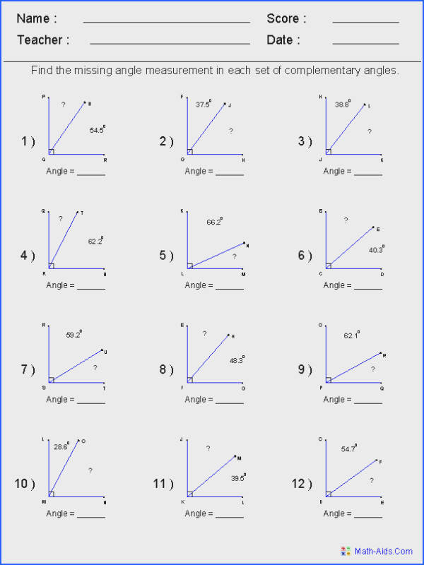 Find plementary Angles Worksheets