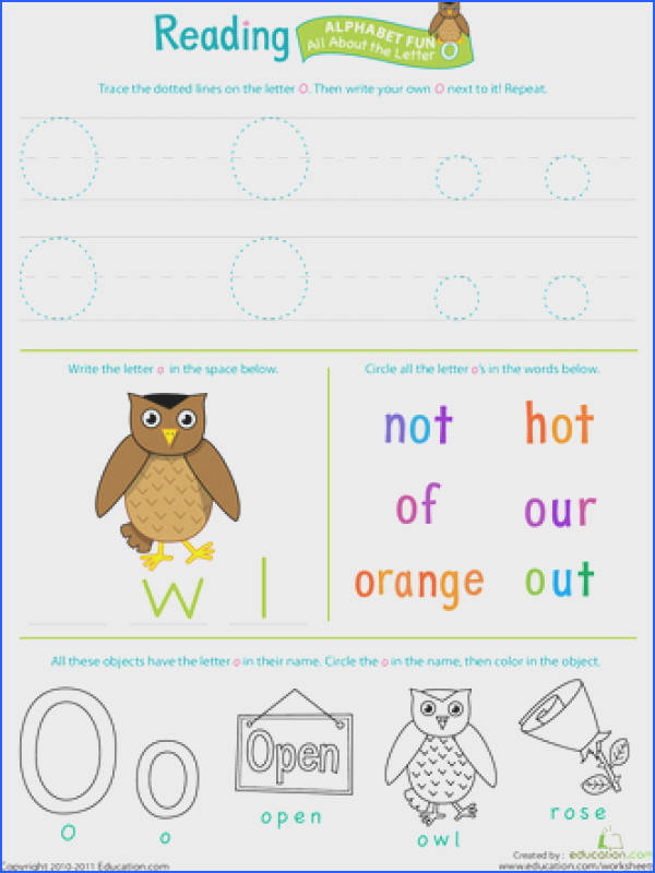 Worksheets Get Ready for Reading All About the Letter O