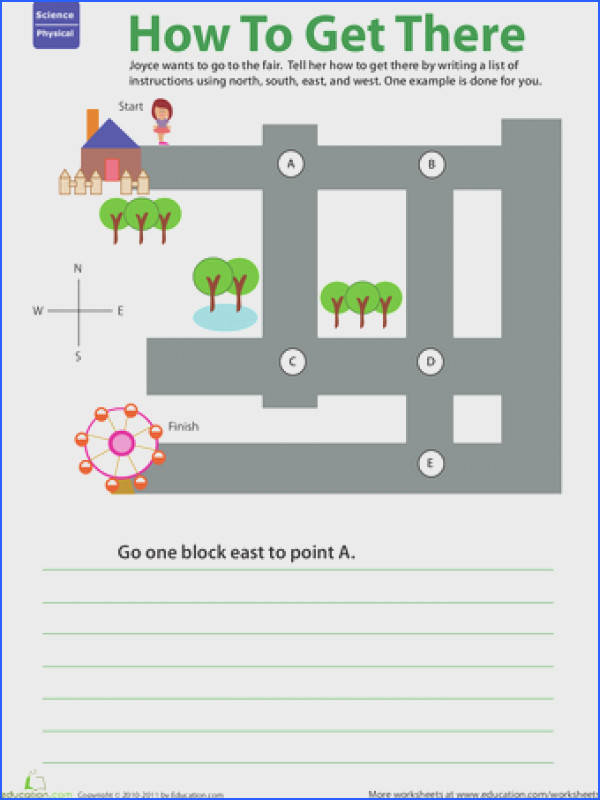 Kids flex their direction know how on this worksheet that challenges them to give step by step directions to help Joyce find her way to the fair