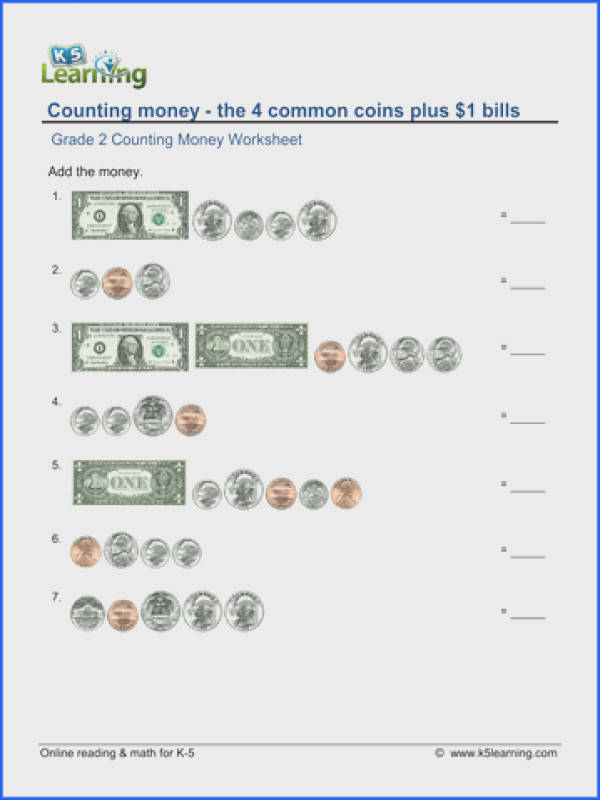 2nd grade counting money worksheet