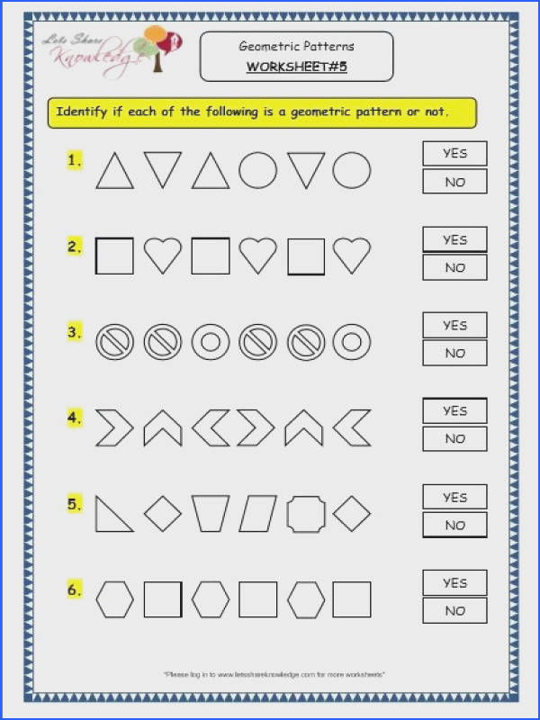 Grade 3 Maths Worksheets Geometry Geometric Patterns in Shapes & Numbers Lets Knowledge