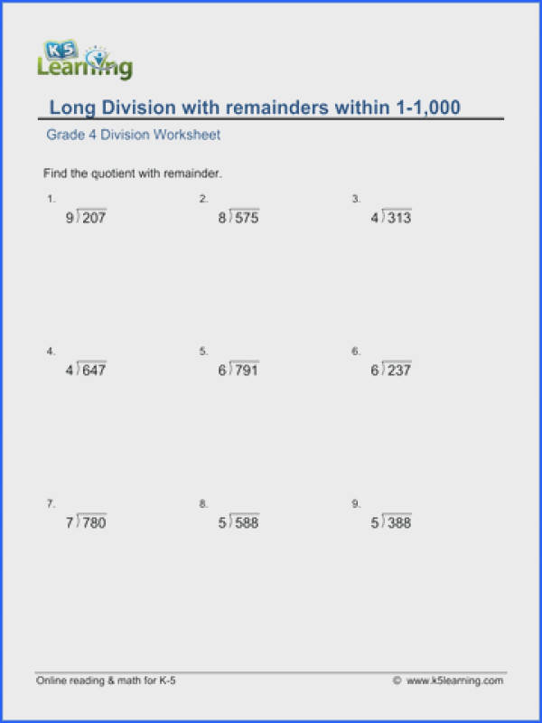 Grade 4 Long division Worksheet 3 digit by 1 digit numbers with remainder