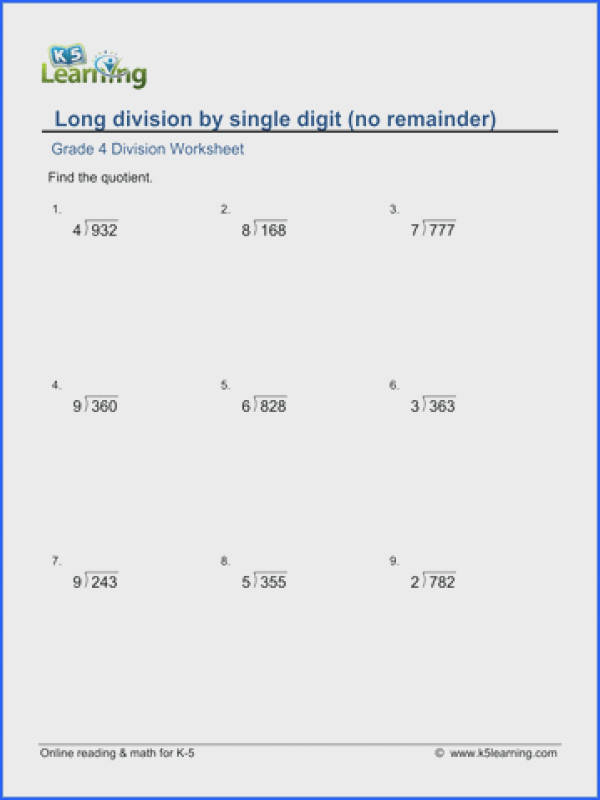 Grade 4 Long division Worksheet 3 digit by 1 digit numbers with no remainder
