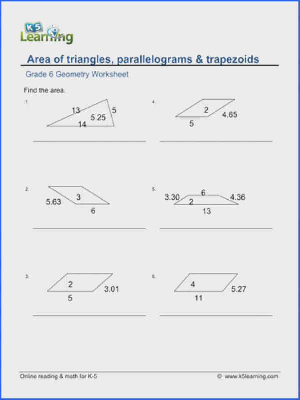 Grade 6 Geometry Worksheet area of triangles parallelograms trapezoids