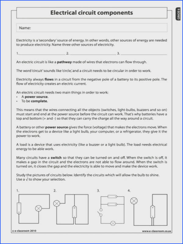 Electrical circuit ponents Natural Science Worksheet Grade 6