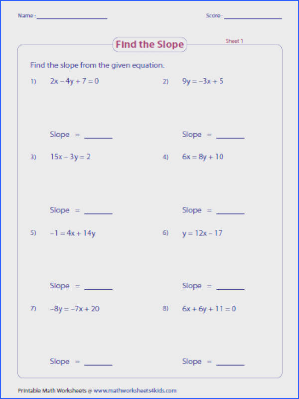 Math · graph from slope intercept form worksheet Google Search