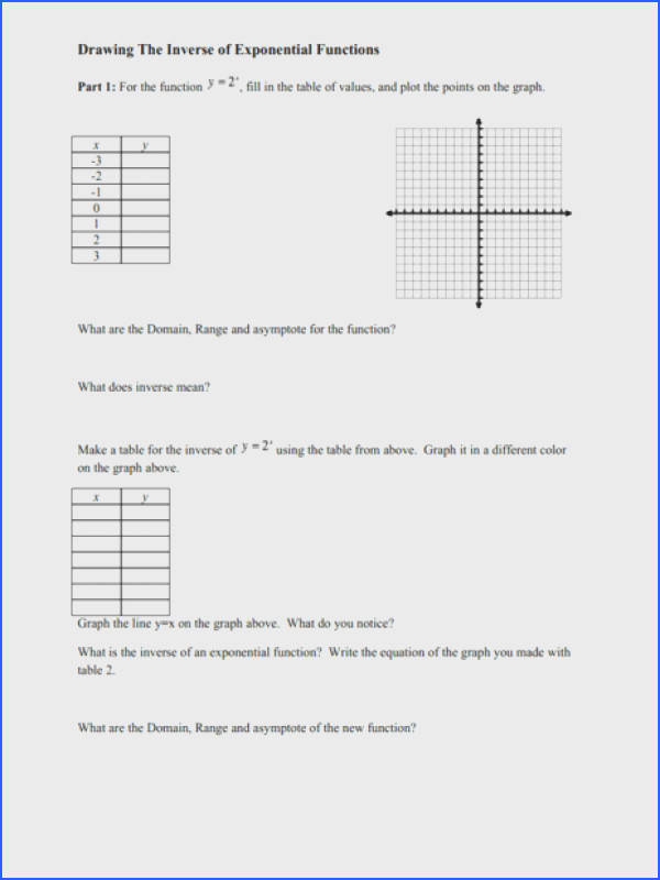 Graphs Exponential Functions Worksheet Worksheets for all Download and Worksheets