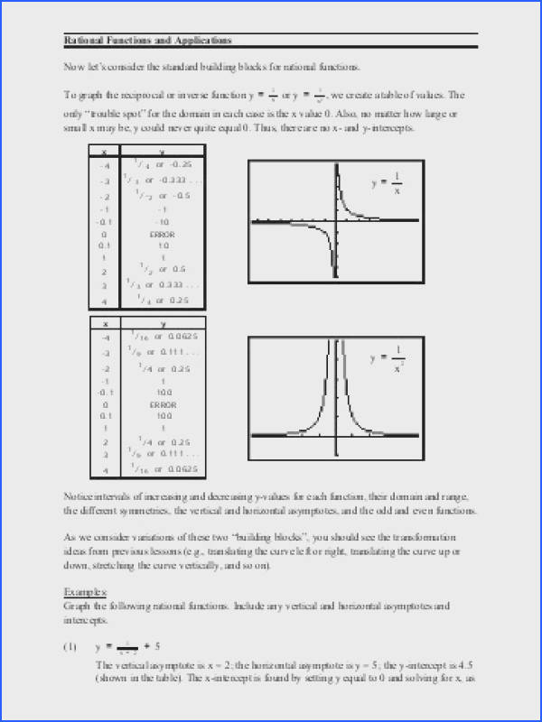Rational Functions and Applications Now let s consider the standard
