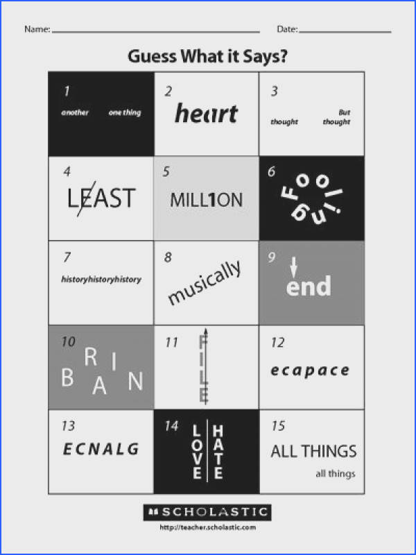 Rebuses are optical illusions that use pictures to represent words or parts of words Can your students solve these rebuses Free worksheet and answer key