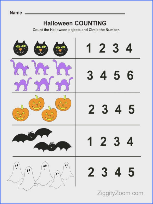 Halloween Counting Preschool Worksheet Math Fun Image Below Pre K Math Worksheets