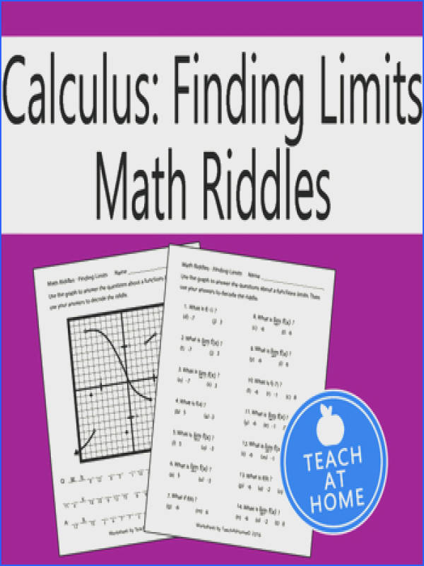Halloween Math Riddle Calculus Using a Graph to find Limits Fun Math